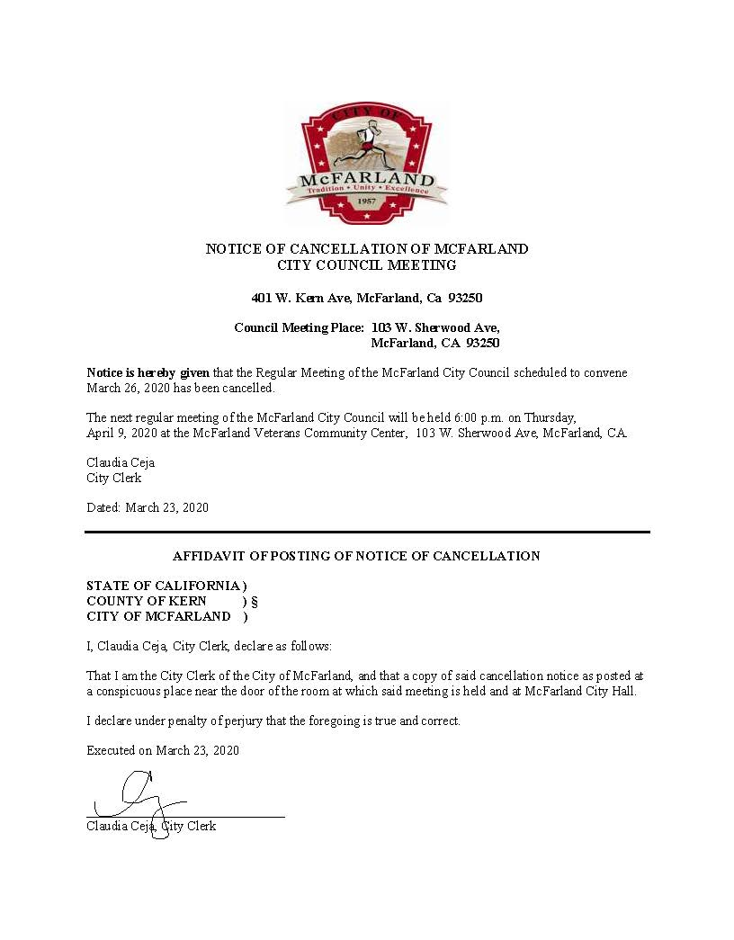 Notice of Cancelled Meeting 3.26.20-signed