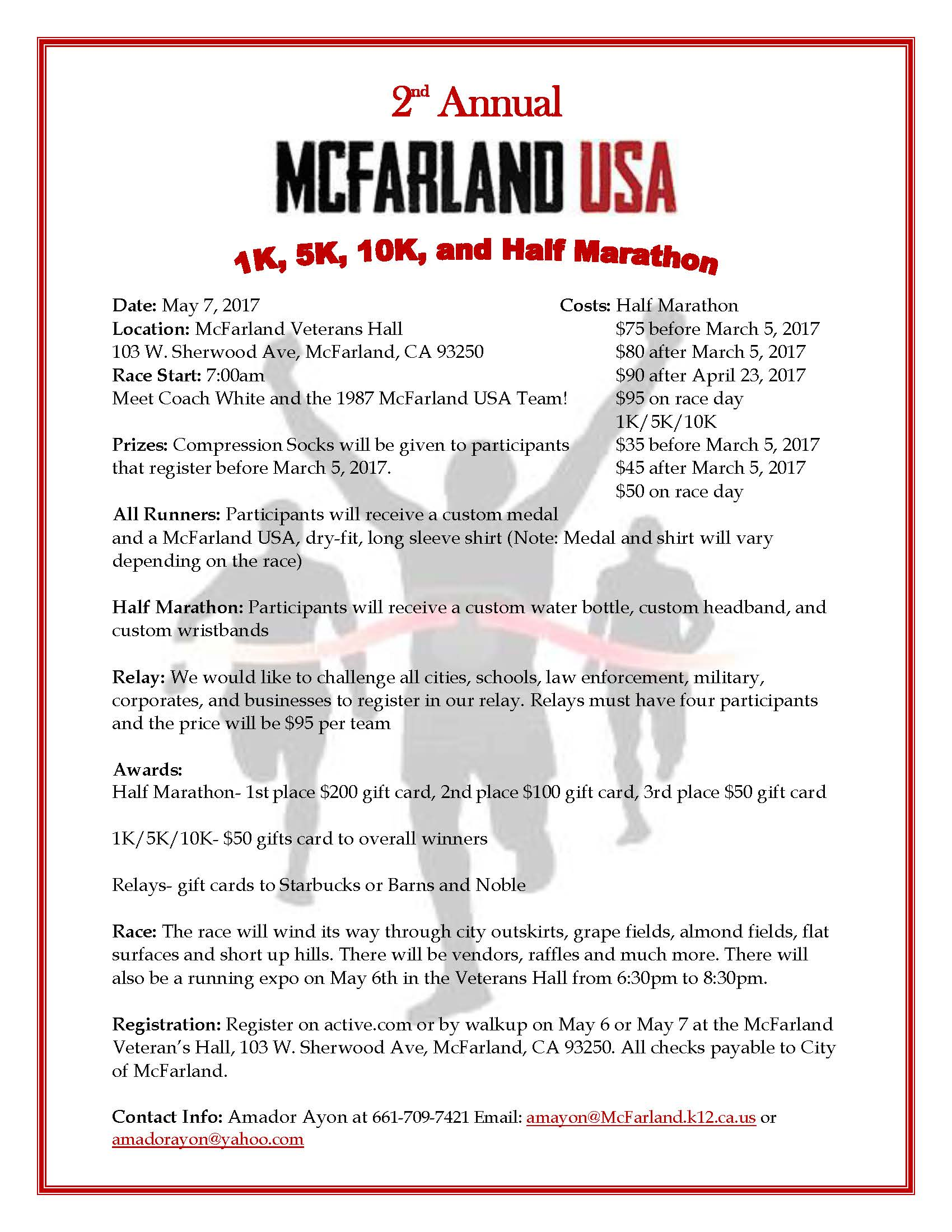 2nd Annual McFarland USA Flyer