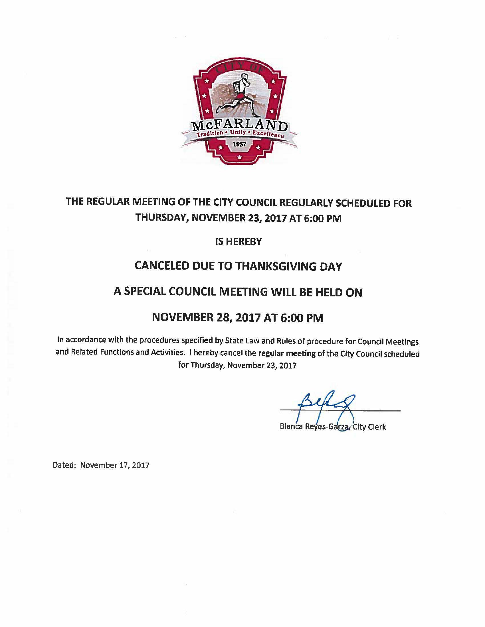 Cancellation of City Council Meeting 11-23-2017 Notice